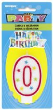Number Zero 0 Birthday Cake Candle With Topper